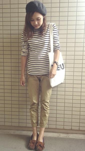 秋の旅行ファッションはこれ! コーデ1:ベレー帽コーデ
